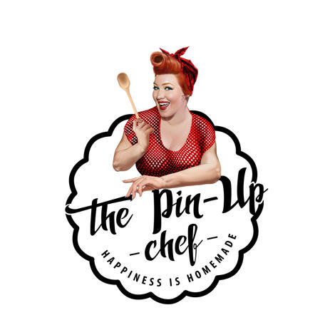 Pin Up Chef Caricature in Color Style for Custom Vintage Logo Mascot - example