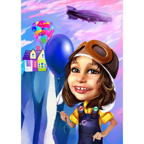 Custom Kid Portrait Caricature Drawing with Inspired Cartoon Style Background - example