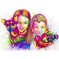 Акварельная карикатура мальчика и девочки с домашними животными с фотографии