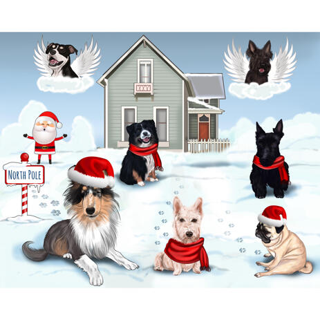 Dogs Group Portrait in Christmas Theme with Background - example