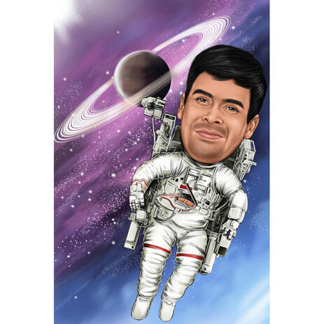 Full Body Astronaut Caricature Portrait with Space Background - example