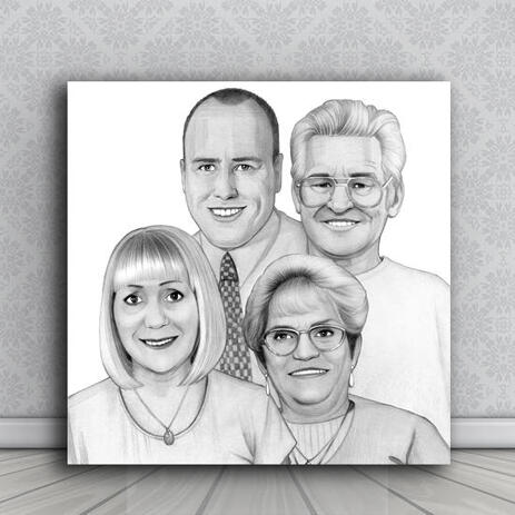 Group Cartoon Portrait on Canvas in Black and White Style from Photos - example