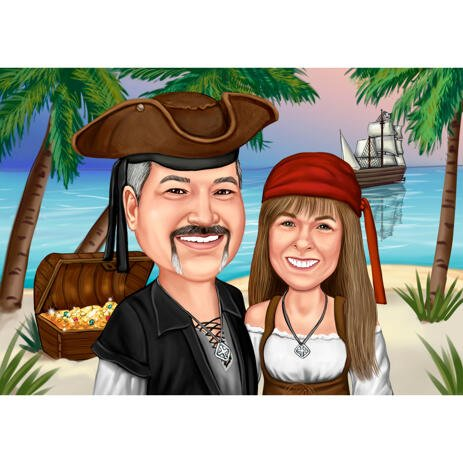 Pirates Couple Caricature Portrait on Custom Background for Perfect Gift Idea - example