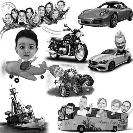 Kuljeta karikatyyri kaikilla ajoneuvoilla mustavalkoisena - example