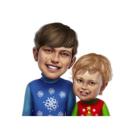Ugly Christmas Sweater Kid Caricature from Photo in Colored Style - example