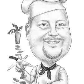 Chef Caricature din fotografii ale omului în stil alb și negru creioane