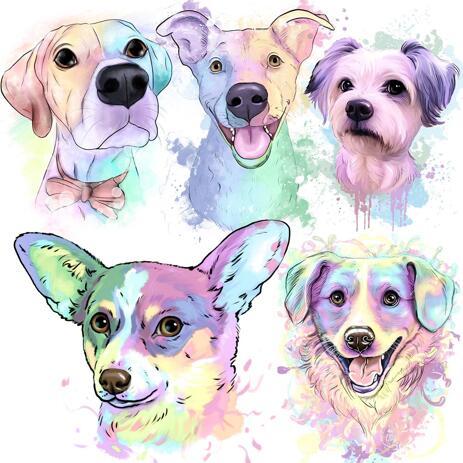 Pastelový akvarel portrét psa z fotografií - example