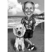 Personne avec animal de compagnie en vacances - Caricature en noir et blanc à partir de photos