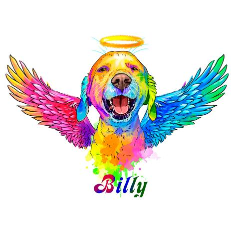 Hund Memorial Portrait med Halo og Angel Wings - example