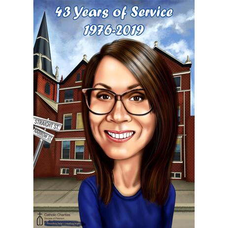 Retirement Caricature from Photos in Digital Style - example