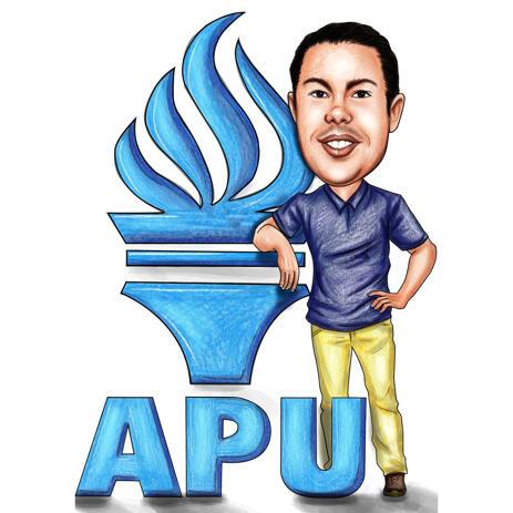 Карикатура выпускника в полный рост с логотипом университета нарисованная с фото - example