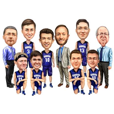 Sport Basket Team Caricature in Colored Digital Style - example