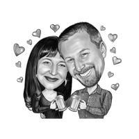Smukt par karikatur i sort / hvid stil til bedste gave til ølelskere