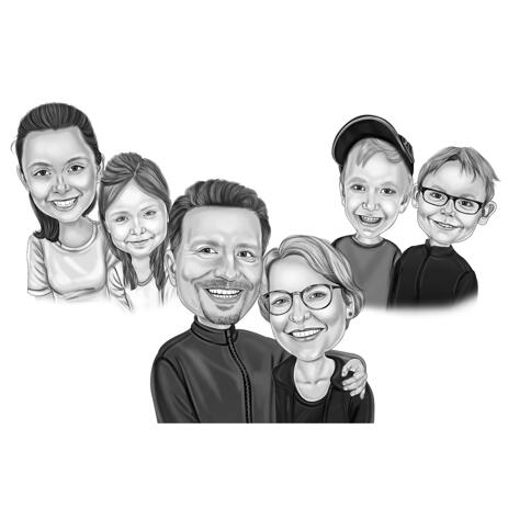 Black and White Family with Kids Cartoon Drawing from Photos - example