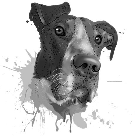 Great Dane Headshot Caricature Portrait in Graphite Watercolor Style from Photo - example