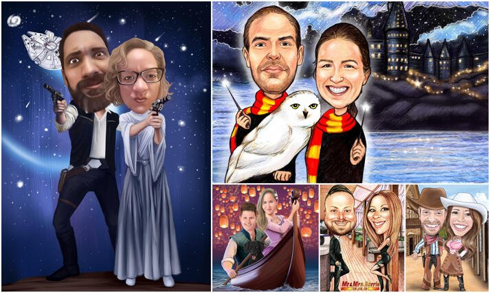 Couple Movies Caricatures large example