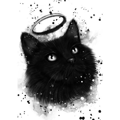 Graphite Style Cat with Halo Portrait from Photo for Constant Reminder of Your Lovely Pet - example