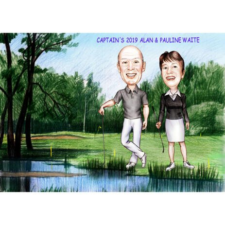 Two Persons Full Body Caricature with Golf Background for Custom Gift - example