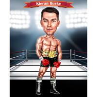 Цветная карикатура боксера в полный рост на фоне боксерского ринга