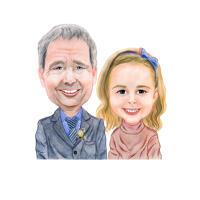 Цветная карикатура отца и дочери нарисованная до плеч в карандашном стиле