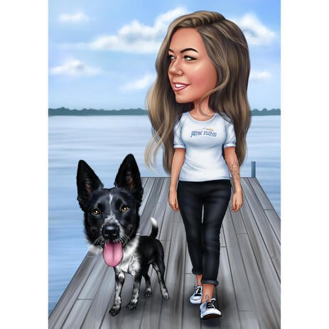Owner with Dog Full Body Caricature with Colored Background - example