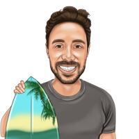 Huvud och axlar Person som surfar tecknad karikatyrgåva från foto