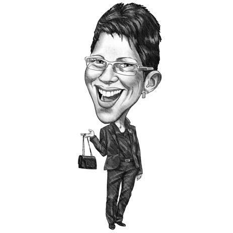 Funny Exaggerated Business Woman Caricature in Black and White Pencil Style - example