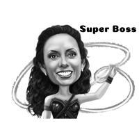 Superboss tecknat porträtt i svartvitt stil från Foto