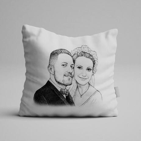 Pencils Portrait of Bride and Groom as Pillow Print - example