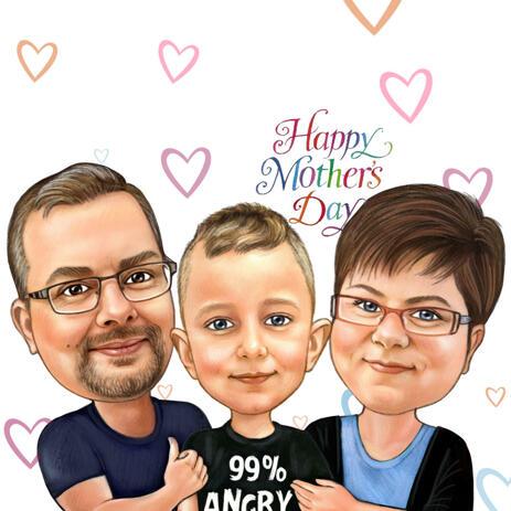 Kundenspezifische Karikaturzeichnung der Familie in farbiger Bleistift-Art - example