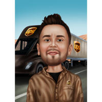 Person Courier Caricature from Photos on Custom Background for Mail Carrier Gift