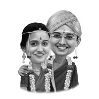 Traditional Indian Wedding: Couple Caricature in Black and White Style from photos