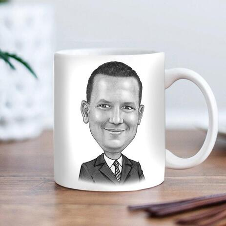 Business Caricature on cofee mug - example