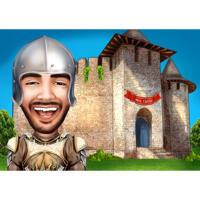 Benutzerdefinierte Kopf- und Schulterkarikatur im Farbstil mit Schlosshintergrund
