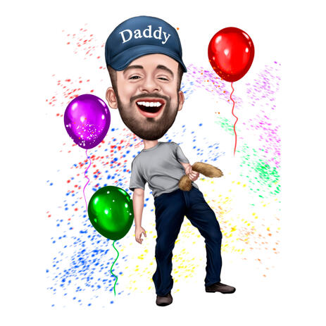 Hand Drawn Customized Birthday Caricature Drawing for Daddy - example