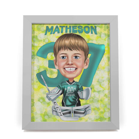 Kid Sport Caricature Gift from Photo Printed on Poster - example