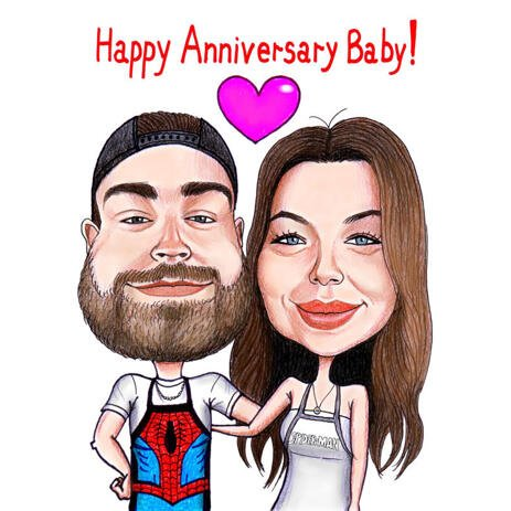 Funny Anniversary Caricature of Couple from Photos - example