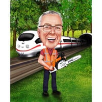 Person with Train in Colored Caricature on Custom Background from Photos