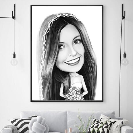 Bride Caricature from Photos on Poster - example