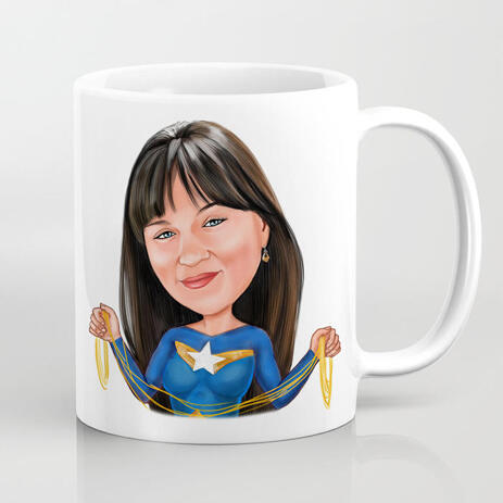 Superhero Woman Caricature in Colored Style Print on Mug - example