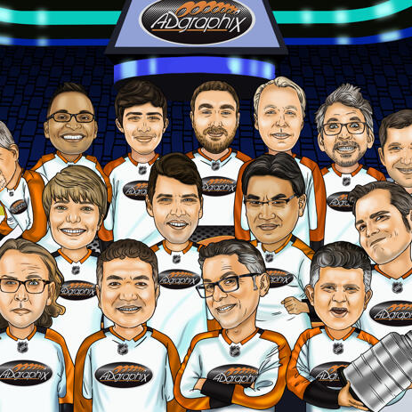 Hockey Team Group Caricature from Photos - Hockey Coach Gift - example