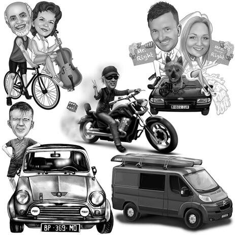 Full Body Transport Caricature with Any Vehicle in Black and White Style - example