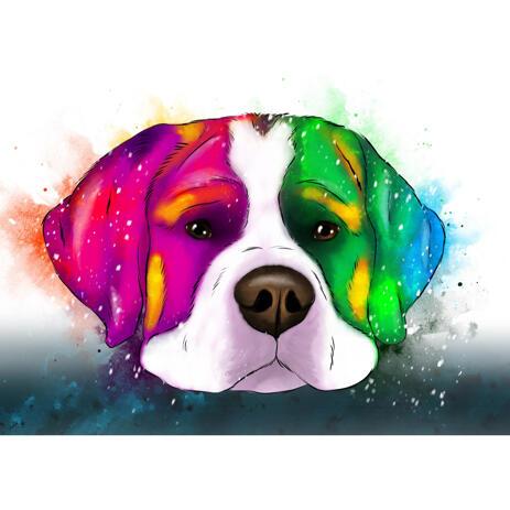 Custom Dog Headshot Cartoon Portrait in Chromatic Watercolor Style from Photos - example