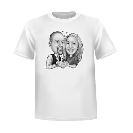 Valentine's Day Couple Caricature T-Shirt Gift Hand Drawn from Photos - example