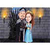 Анимированная карикатура на пару из Игры престолов с индивидуальным фоном для подарков фанатам кино