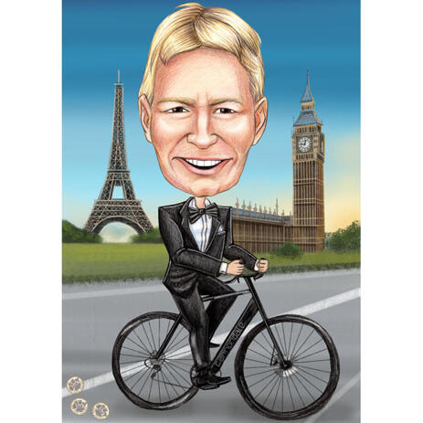 Full Body Caricature of Person Riding a Bicycle - example