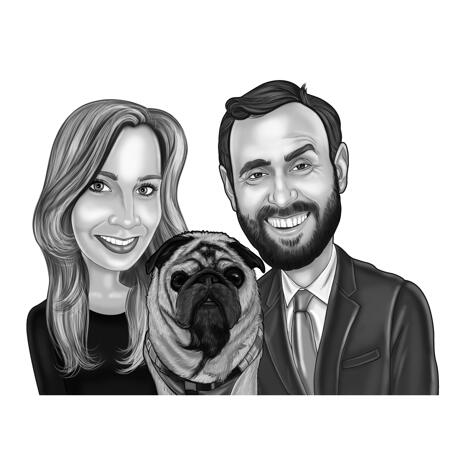 Black and White Caricature of Couple with Pug from Photos - example