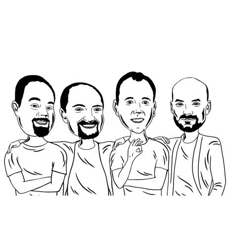 Group Caricature Line Art Drawing in Black and White Style from Photos - example