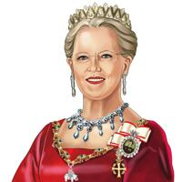 Royal Queen Portræt i farve stil håndtegnet fra foto