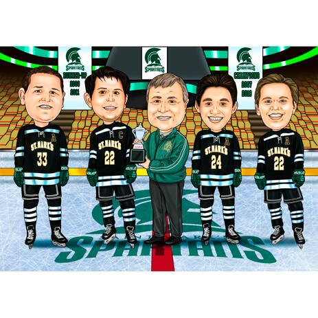 Caricature de l'équipe de hockey sur les photos: uniforme de hockey complet - example